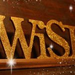 Golden. sparkly sign saying Wish - The Angel's Christmas Wish Letter 2016