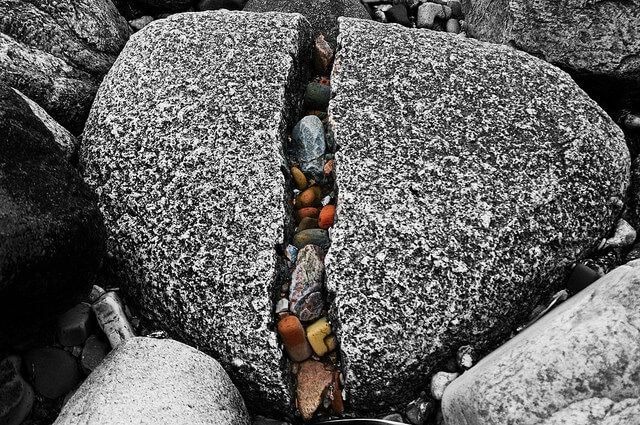 Heart shaped stone broken in the middle
